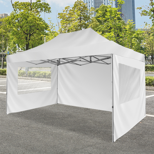 tent wall with windows for promotional purposes